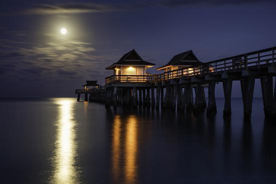 Full Moon Setting over the Naples Pier, Naples, Florida, Usa-Brian Jannsen-Photographic Print