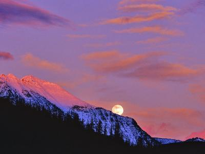 Full Moonrise over Cloudcroft Peaks, Glacier National Park, Montana, USA-Chuck Haney-Photographic Print