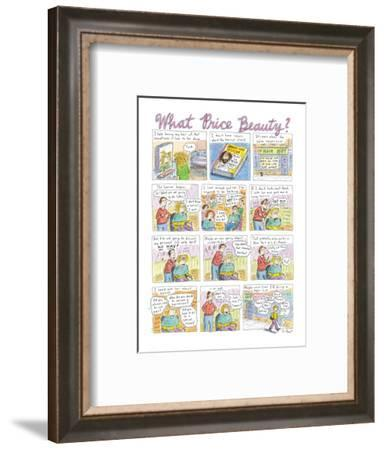 FULL PAGE COLOR. A woman's salon experience of debating over which topics ? - New Yorker Cartoon-Roz Chast-Framed Premium Giclee Print
