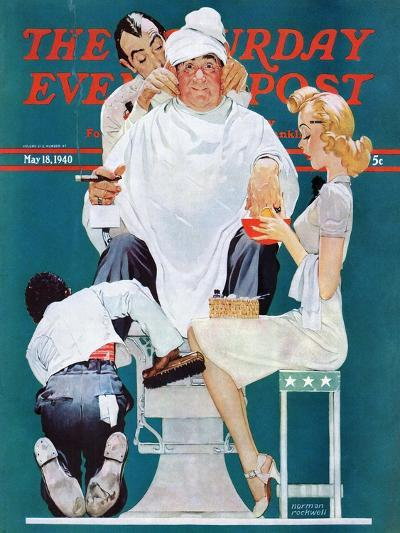 """Full Treatment"" Saturday Evening Post Cover, May 18,1940-Norman Rockwell-Giclee Print"