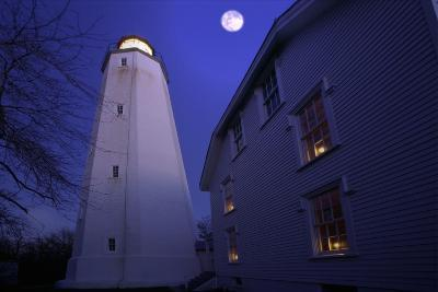 Full Winter Moon At Sandy Hook Lighthouse-George Oze-Photographic Print
