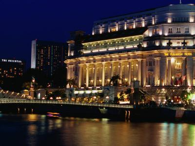 Fullerton Hotel at Night, Singapore, Singapore-Phil Weymouth-Photographic Print