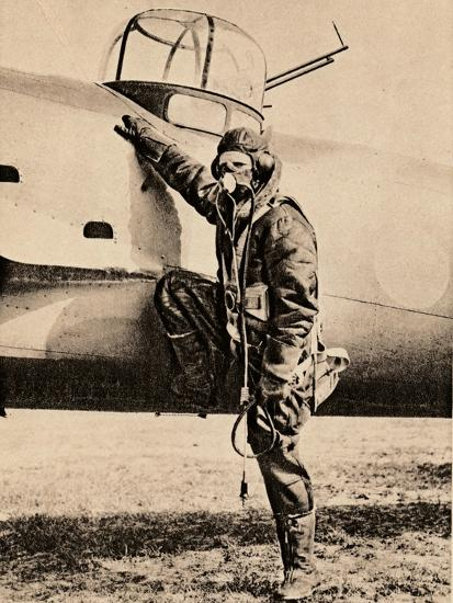 Fully Equipped for air fighting; oxygen, radio, electrically heated clothing and parachute, 1940-Unknown-Photographic Print