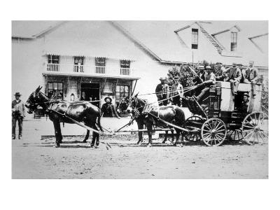 Fully-Loaded Stagecoach of the Old West, C.1885 (B/W Photograph)-American Photographer-Giclee Print