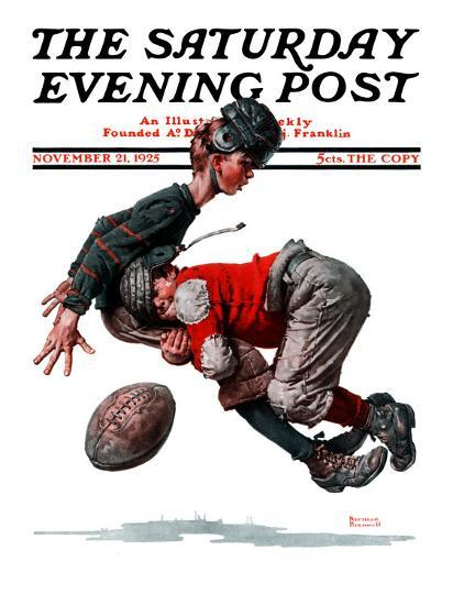 """""""Fumble"""" or """"Tackled"""" Saturday Evening Post Cover, November 21,1925-Norman Rockwell-Premium Giclee Print"""
