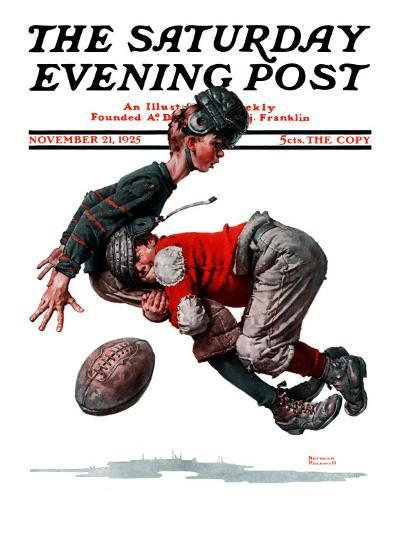 """""""Fumble"""" or """"Tackled"""" Saturday Evening Post Cover, November 21,1925-Norman Rockwell-Giclee Print"""