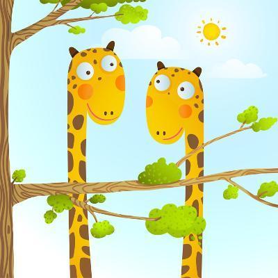 Fun Cartoon Baby Giraffe Animals in Wild for Kids Drawing. Funny Friends Giraffes Cartoon in Nature-Popmarleo-Art Print
