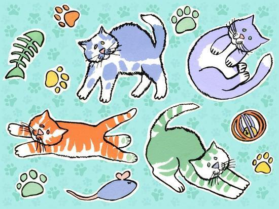 Fun Kitties Pawprints-Geraldine Aikman-Giclee Print