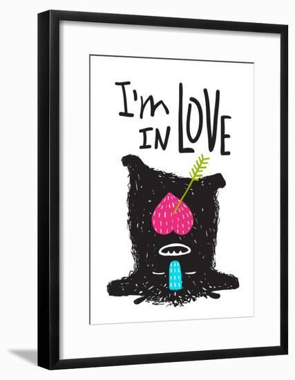 Fun Monster in Love Happy Upside-Down Cartoon for Kids. Happy Funny Little Monster Loving for Child-Popmarleo-Framed Art Print