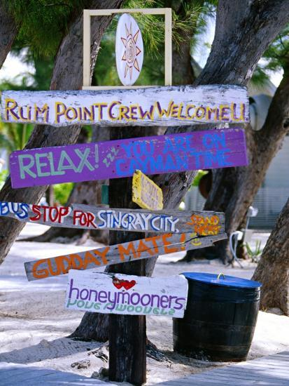 Fun Signpost at Run Point, Cayman Islands-George Oze-Photographic Print