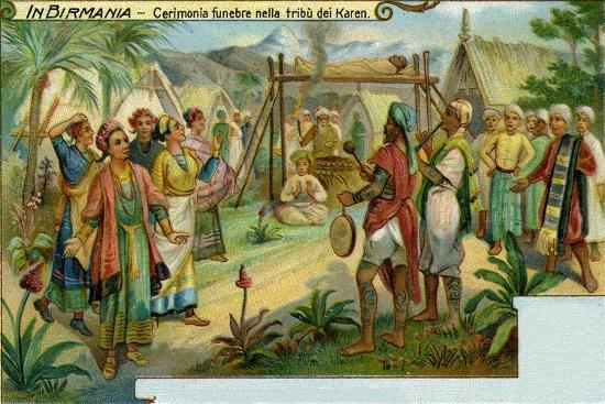 Funeral Ceremony Among the Karen Tribe in Burma--Giclee Print