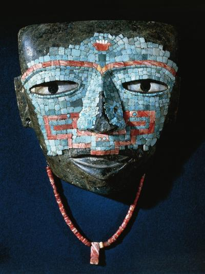 Funeral Mask Covered by Turquoise and Red Shell Mosaic. Artefact from Teotihuacan--Giclee Print