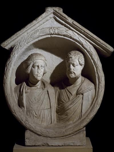Funeral Medallion with Portrait of Married Couple from Virunum, Magdalensberg, Austria--Giclee Print