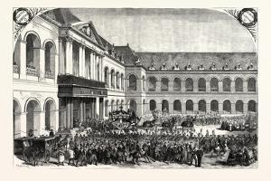 Funeral of Admiral Bruet, Coming from Des Invalides in Paris, France, 1855.