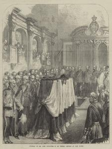 Funeral of Sir John Burgoyne in St Peter's Church at the Tower