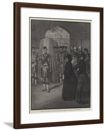 Funeral of the Duke of Albany, the Queen Receiving the Body at the Windsor Railway Station--Framed Giclee Print
