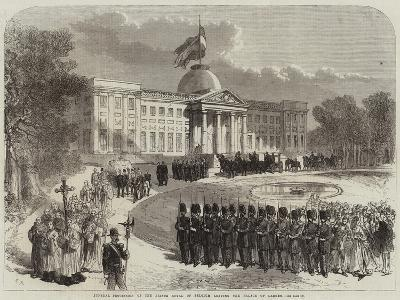 Funeral Procession of the Prince Royal of Belgium Leaving the Palace of Laeken--Giclee Print
