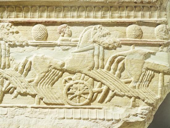 Funeral Stone Decorated in Relief, from Sicily, Italy, Detail Depicting Chariots and Horses--Giclee Print