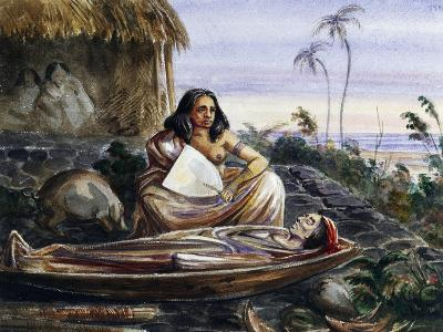 Funeral Wake on Marquesas Islands, Watercolour by Maximilien-Rene' Radiguet--Giclee Print
