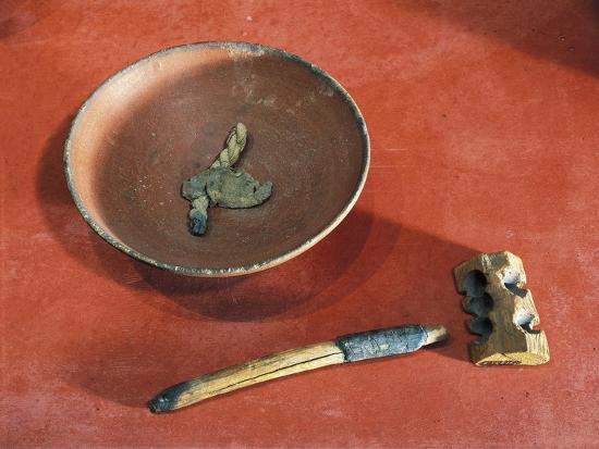 Funerary Objects from the Western Cemetery of Qurnet Murai, Terracotta Lamp, Wood Lighter, Matches--Giclee Print