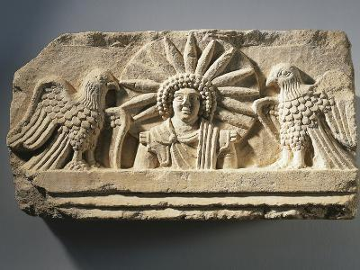 Funerary Relief Representing the God Yarhibol the Sun Symbol and Two Eagles on His Sides--Giclee Print