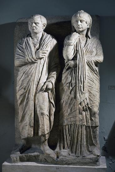 Funerary Stele for Married Couple, from Via Statilia in Rome, Italy BC--Giclee Print