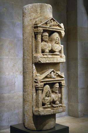 Funerary Stele in Limestone Composed of Two Tabernacles Leaning Against Column--Giclee Print