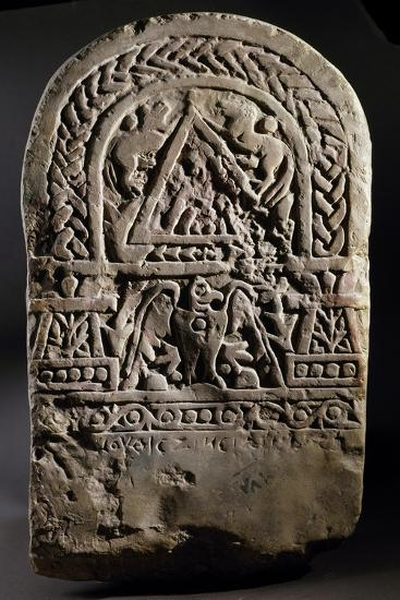 Funerary Stele with Relief Depicting Arched Doorway Between Two Pillars--Giclee Print
