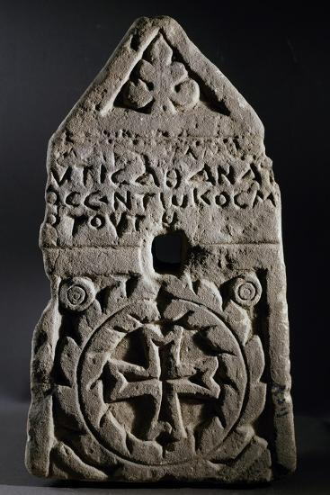 Funerary Stele with Triangular Pediment and Cross Inscribed Within Wreath--Giclee Print