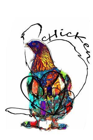 Funky Chicken Illustration- onesmallsquare-Art Print