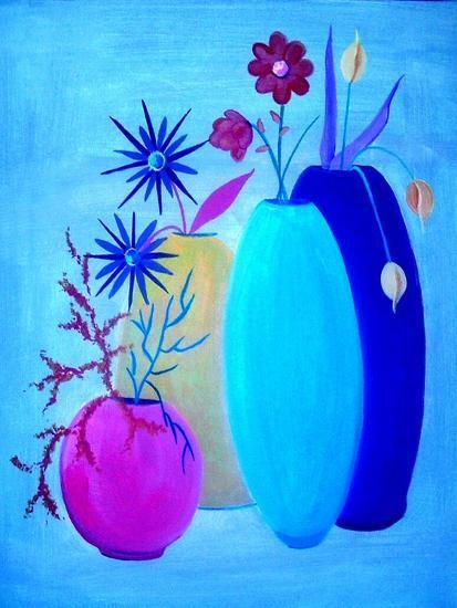 Funky Floral Blue-Ruth Palmer Digital-Art Print
