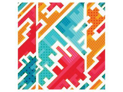 Funky Red Blue Beige Pattern--Art Print