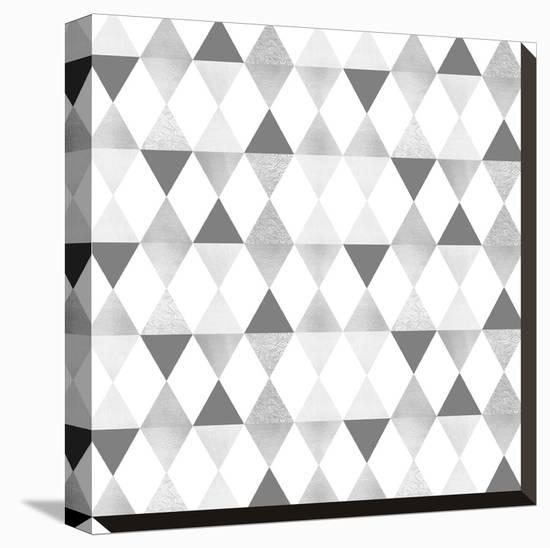 Funky Triangles Light Grey & Silver-Melanie Viola-Stretched Canvas Print