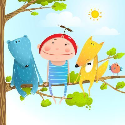 Funny Animals and Boy Friends Sitting on the Tree, Baby Kid and Fox, Bear Funny Friendship Colorful-Popmarleo-Art Print