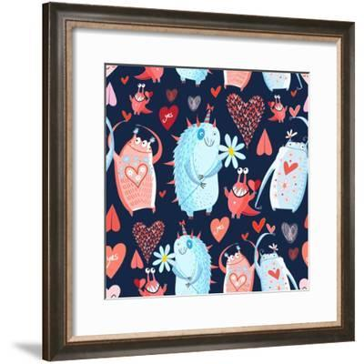Funny Bright Seamless Vector Pattern with Lovers Monsters-Tanor-Framed Premium Giclee Print