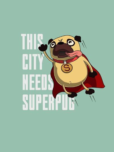 Funny Cartoon Character Pug Design for Tee. Pug Flying in the Sky. Pug Puppy Superhero. Design for- Just_Draw-Art Print