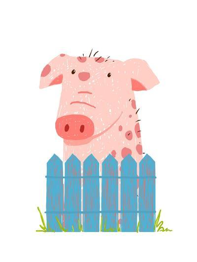 Funny Cartoon Pig Sitting over Fence. Childish Hand Drawn Cartoon of a Little Pig on Farm. Vector I-Popmarleo-Art Print