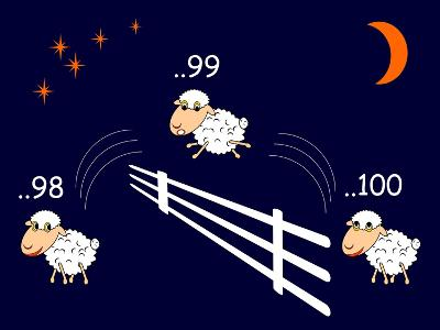 Funny Cartoon Sheep Jumping through the Fence-Amicabel-Art Print