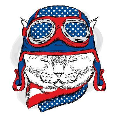 Funny Cat in the Hat and Scarf. Vector Illustration.-Vitaly Grin-Art Print