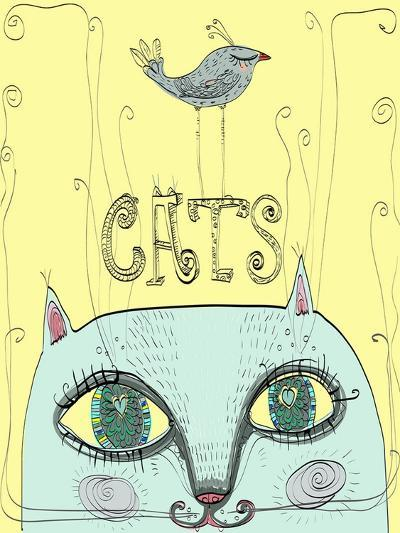 Funny Cat's Head with a Bird-Elena Barenbaum-Art Print