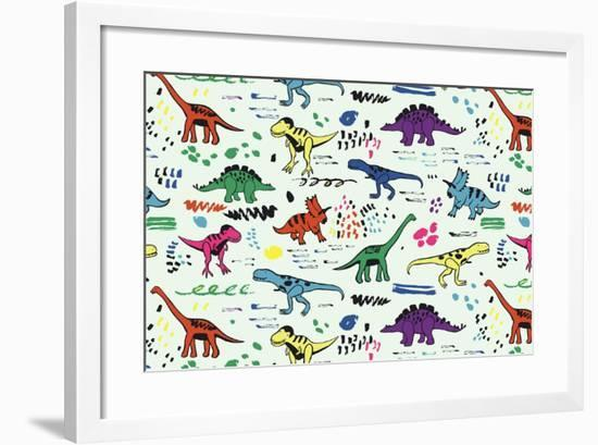Funny Dinosaurs Graphic Color Vector Pattern-GooseFrol-Framed Premium Giclee Print
