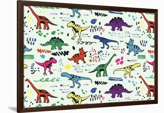 Funny Dinosaurs Graphic Color Vector Pattern-GooseFrol-Framed Art Print