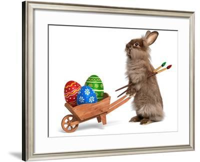 Funny Easter Bunny Rabbit With A Wheelbarrow And Some Easter Eggs-mdorottya-Framed Photographic Print