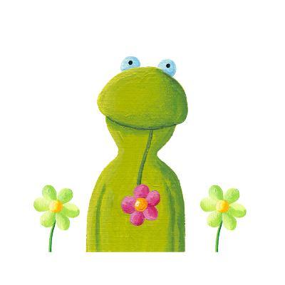 Funny Frog in the Flowers-andreapetrlik-Art Print