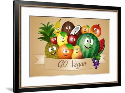 Funny Fruits for Vegan Diet-sognolucido-Framed Art Print