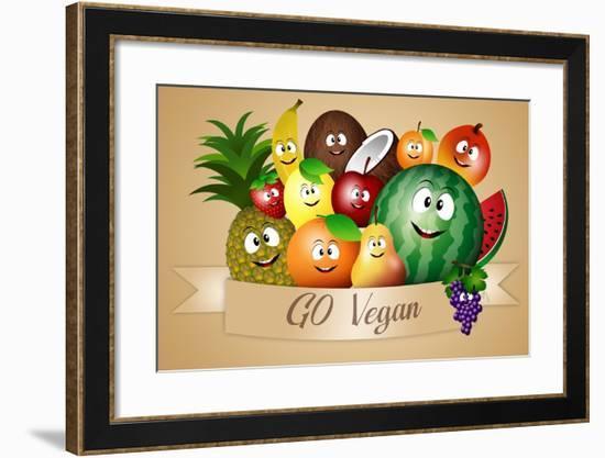 Funny Fruits for Vegan Diet-sognolucido-Framed Art Print