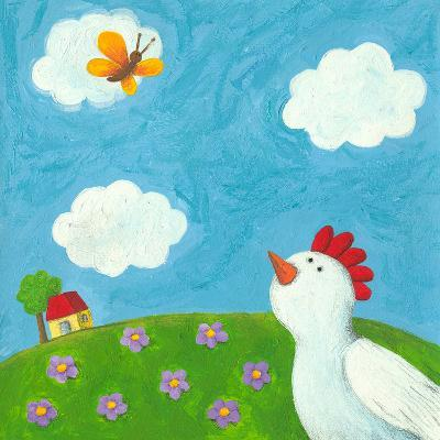 Funny Hen and Butterfly-andreapetrlik-Art Print