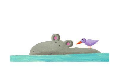 Funny Hippo Isolated-andreapetrlik-Art Print