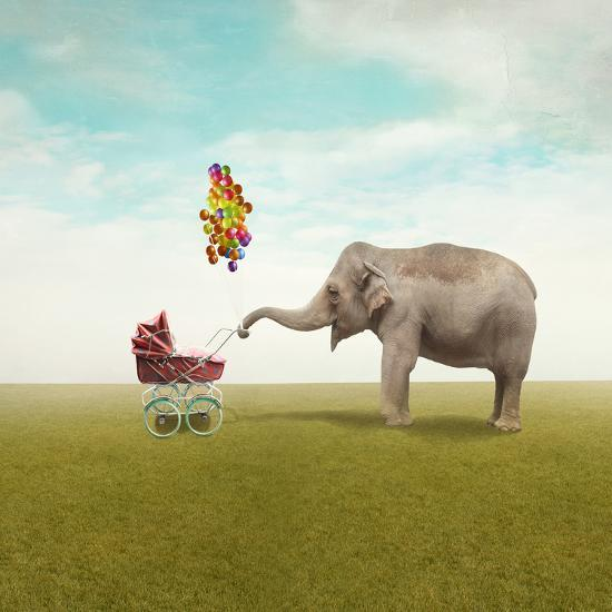Funny Illustration with a Beautiful Elephant Leading Walking Her Child in a Wheelchair-Valentina Photos-Photographic Print