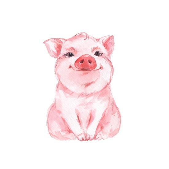 Funny Pig Cute Watercolor Illustration 1 Art Print By Gribanessa